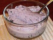 Bowl of homemade goat milk blueberry ice cream