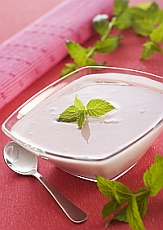 Dish of yogurt in elegant setting