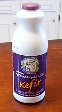 Bottle of goat milk kefir