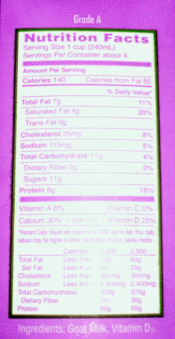Milk Nutrition Facts Label for Goat Milk