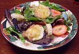 Goat cheese salad on serving plate