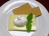 Goat milk yogurt lemon square with cracker