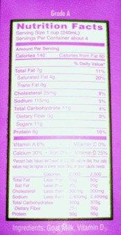 Milk Nutrition Facts Label for Goat Milk