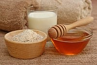 Oatmeal and honey spa supplies