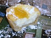 German cheesecake quark tart cut in half